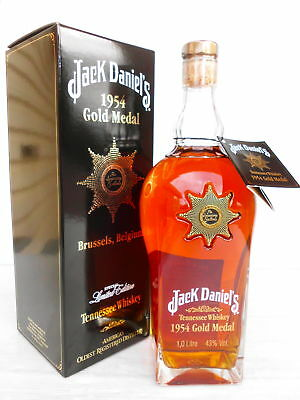 Jack Daniels 1954 Gold Medal Tennessee Whiskey Rare Litre Box & unregistered Tag
