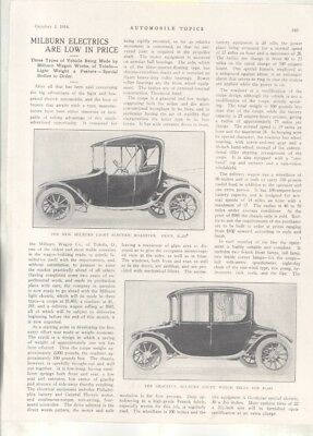 1915 Milburn Electric Car Roadster Delivery Wagon Magazine Article Toledo wz7075