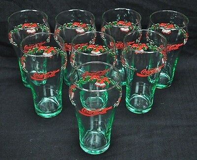 Coca-Cola Christmas Glasses Set Of 8 Holly Bells Green Libby