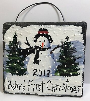 2018 BABY'S FIRST CHRISTMAS Ornament CLOUDS Hand Painted SLATE Personalized