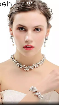 Bridal Anniversary Occasions Party Rhinestone Pearls Necklace /Earrings