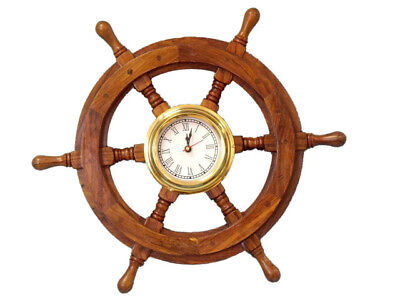 "Ship's Steering Wheel 18"" w/ Brass Clock Wooden Nautical Wall Decor New"