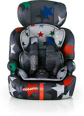 New Cosatto Zoomi group 123 anti escape car seat Grey Megastar from 9 to 36kg