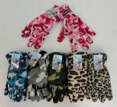 12 Pairs Womens Fleece Gloves Assorted Camo Cheetah Thermal Insulated Winter