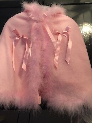 Brand New Baby Girls Pink Fur Edge Cape With Bows And Hood