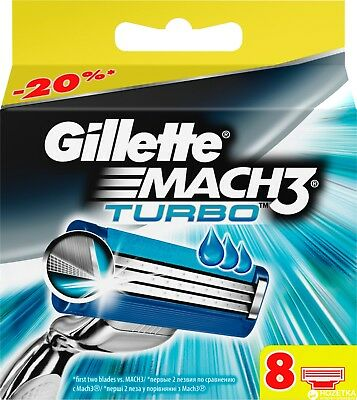 Gillette Mach 3 Turbo Razor Blades 8 - 100% Genuine Uk Stock ** Free Postage **