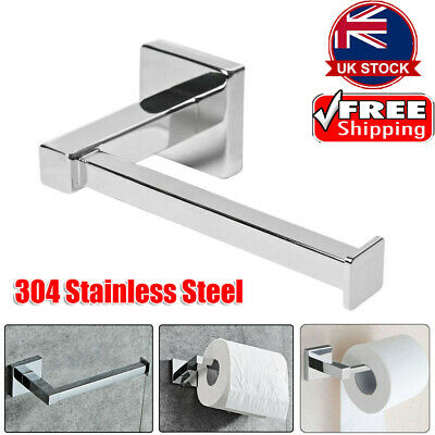 Chrome Modern Bathroom Wall Accessories Square Toilet Roll Paper Holder UKGT
