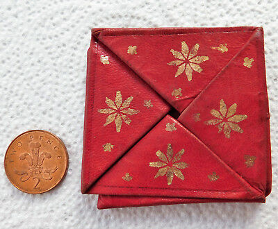 Vintage red and gold Morocco leather folding purse pouch for coin or change