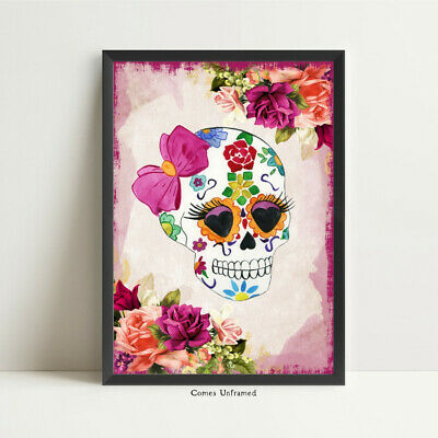 Sugar Skull print day of the dead skull wall art home decor gothic picture