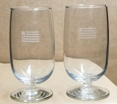 Pair(2) 6oz Wine Glasses - NEW....US Airways with US Flag