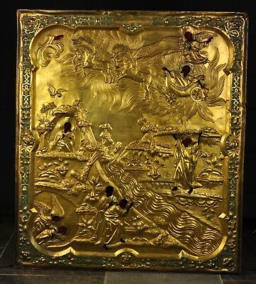 "Antique early 19th century large Russian icon cover "" oklad "" , gilt bronze"
