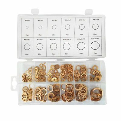 280pcs 12 Sizes Solid Copper Washers Assorted Copper Gasket Sealing Ring SeES