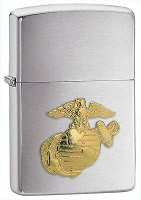 Zippo Lighter: US Marine Corps Crest Emblem - Brushed Chrome 280MAR