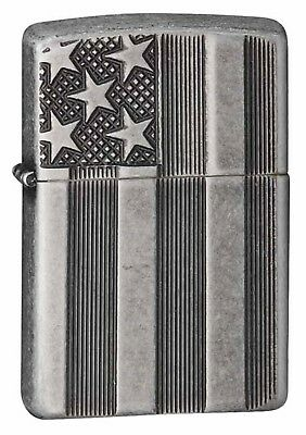 Zippo Lighter: United States Flag, Armor - Antique Silver Plate 28974