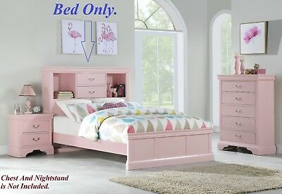1pc Modern Bedframe Twin Size Bed Storage Drawers HB Light Pink Youth Bedroom