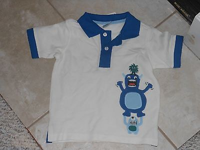 "NWT- Gymboree ""Space Voyager"" short sleeved white monsters polo shirt - 6-12 mos"