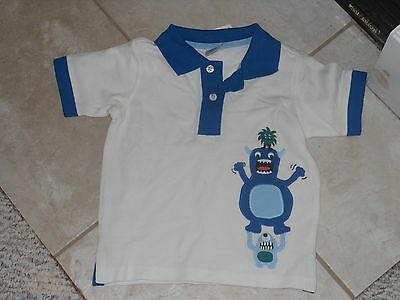 "NWT- Gymboree ""Space Voyager"" short sleeved white monsters polo shirt -12-18 mos"