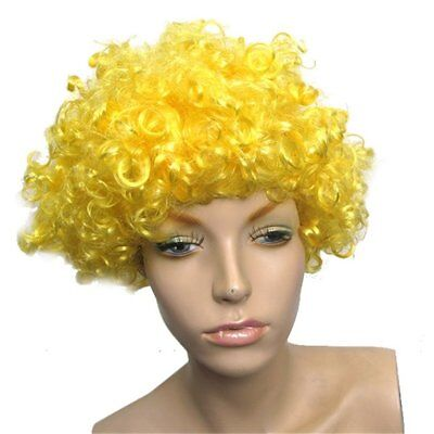 Yellow Curly Afro Fancy Dress Funky Wig Disco Clown Mens Ladies Costume BA