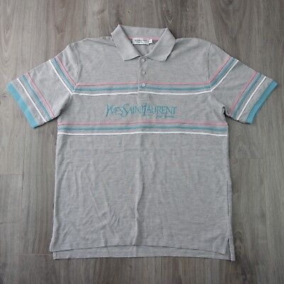 9434ccad912 Mens Vintage Yves Saint Laurent Spell Out YSL Pour Homme Polo Shirt XL  Striped