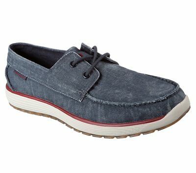 65265 Navy Skechers shoes Men Memory Foam Boat Casual Canvas Comfort Oxford Moc