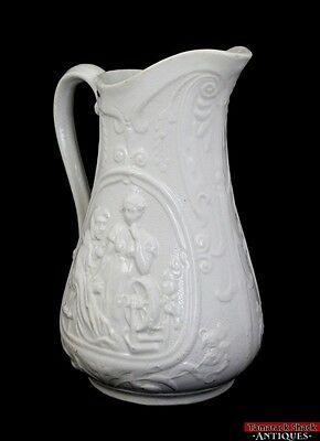 Antique Rumplestiltskin Parian Small Water Pitcher c1850 Detailed Spinning Wheel
