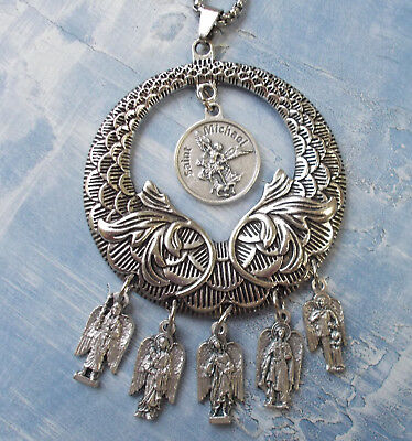 Saint St. Michael Archangel Medal NECKLACE~4 Archangels~St Raphael/Gabriel/Uriel