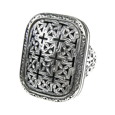 Gerochristo 2561 ~ Sterling Silver Medieval-Byzantine Large Filigree Cross Ring