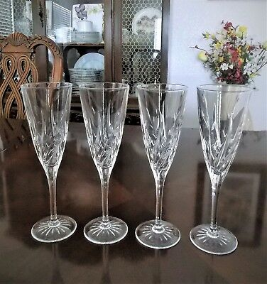 Champagne Flute Long Stem Set Of 6 With Vase Etched Glass Signed