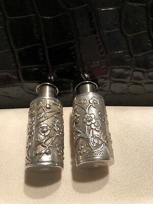 Chinese Export Sterling Silver Wang Hing Cherry Blossom Salt & Pepper Shakers