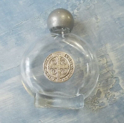 9e6d518d SMALL GLASS HOLY Water Bottle~St. Benedict ~Silver~Catholic Gift~Italy
