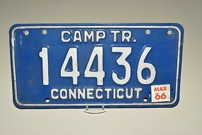 Fine 1966, 66 CONNECTICUT, CONN, CT CAMP TRAILER License Plate, Tag, 14436