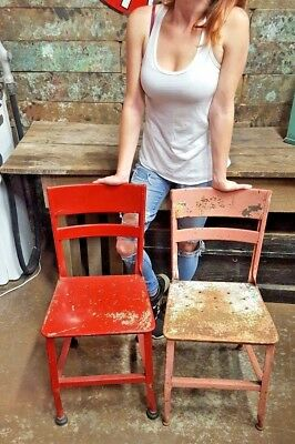 Vtg Toledo Industrial Metal Set Red & Pink Toledo Art Chair Seat Loft Set