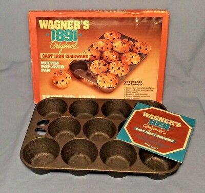 Vintage WAGNER'S 1891 Cast Iron Muffin Pop-Over Pan 11 Cup USA New In Box #1323