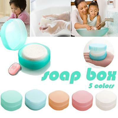Portable Travel Bathroom Round Shower Soap Box Plate Dish Holder Case Container