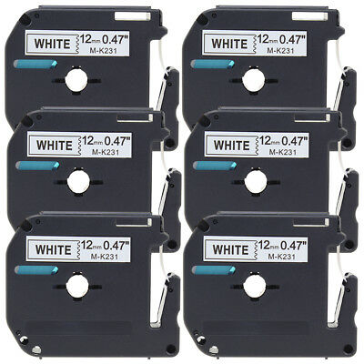 MK231 M-K231 Black on White 12mm Label Tapes PT65 Compatible Brother Ptouch 6PK