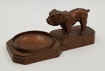 Antique Cast Bronze Bulldog Figurine Trinket Dish Bowl