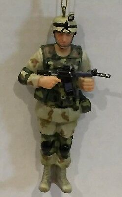 MALE SOLDIER Resin Patriotic Military Christmas Ornament