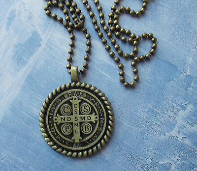 San Benito Medal~St Saint Benedict Large Pendant with border & Chain/card~Bronze