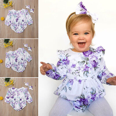 Canis Newborn Baby Girl Cotton Floral Romper+Headband Jumpsuit Outfit Clothes AU