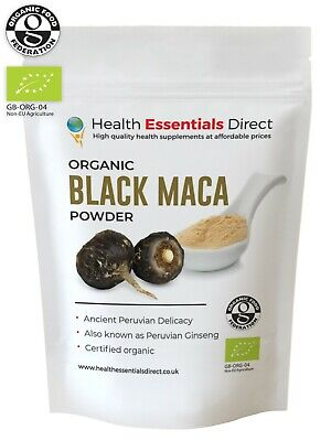 Organic Black Maca Powder Gelatinised/Gelatinized (Libido,Fertility) Choose Size