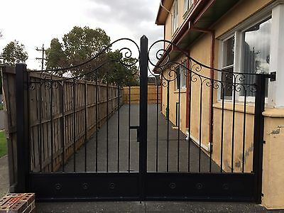 New wrought iron double swinging driveway gates adjustable 3.4 to 3.6m