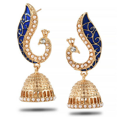 Retro Indian Peacock Jhumka Jhumki Drop Earrings Gypsy Jewelry Charming Bohemia