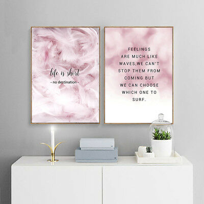 Scandinavian Feathers Canvas Poster Motivational Quote Nordic Wall Art Print