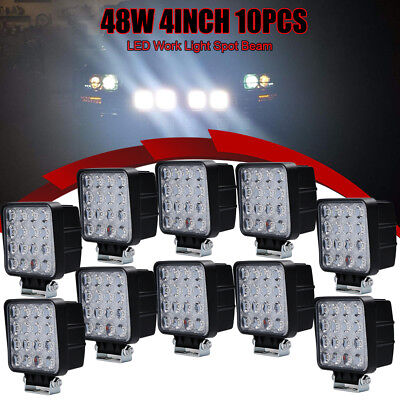 10Pcs 4Inch 48W LED Light Pods Spotlights Square Jeep Atv Boat Suv Truck 4WD 12V