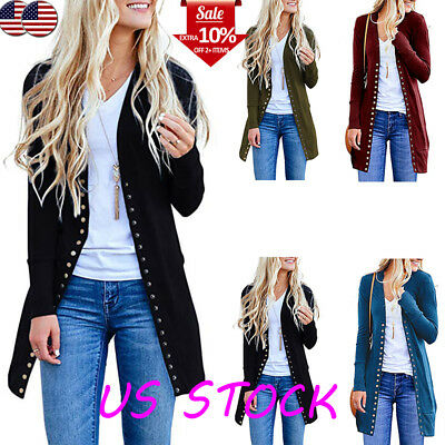 Women's Slim Button Up Strentch Long Sleeve Jackets Tops Trench Coats Cardigans