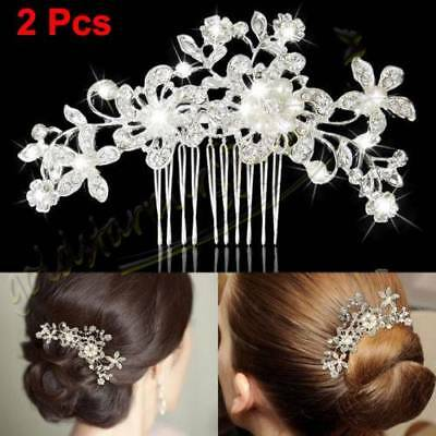 2 Pcs Bridal Hair Comb Pearl Crystal Headpiece Wedding Accessories Silver AU