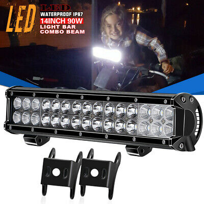 14inch 90W LED Work Light Bar Spot Flood Beam Boat Jeep Driving Lamp Offroad 4WD