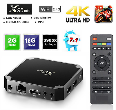 X96 mini Android 7.1.2 TV Box 2GB/16GB S905W QuadCore H.265 HD Media Player S8H3