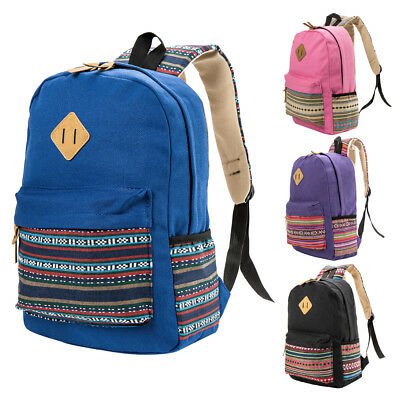 Girls Fashion Womens Canvas School Backpack Shoulder Bag Travel Rucksack
