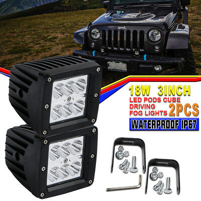2X 3Inch Cube Pod SPOT LED Driving Fog Lights Off Road Work Light For Boat Ford